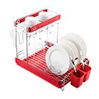 Посудосушитель настольный одноярусный 517х352х384 мм / LF-146 / хром, красный